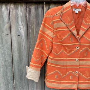 Coldwater Creek Orange Southwestern Jacket